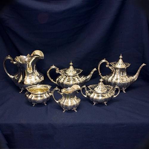 Reed & Barton Sterling Hampton Court Gorham 6 piece Tea Set over 121 oz troy.