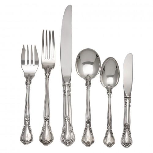 "Gorham ""Chantilly"" Sterling Silver Flatware Set. 6 pc service for 12 - 72 total pcs"