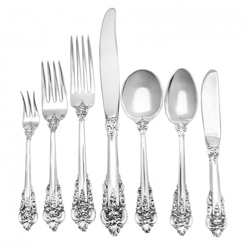"Wallace ""Grande Baroque"" Sterling Silver Flatware Set. 6 Pc service for 12 - 79 total pcs."