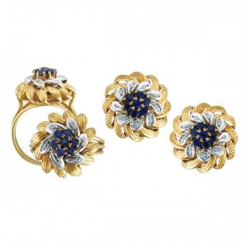 Blue Sapphire and Diamond Swirl Earrings & Ring Set in 18k yellow gold size 8