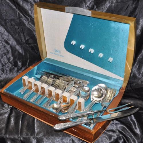 "Fine Arts ""Crown Princess"" Sterling Silver Flatware Set. 6 pc service for 12 - 81 total pcs"