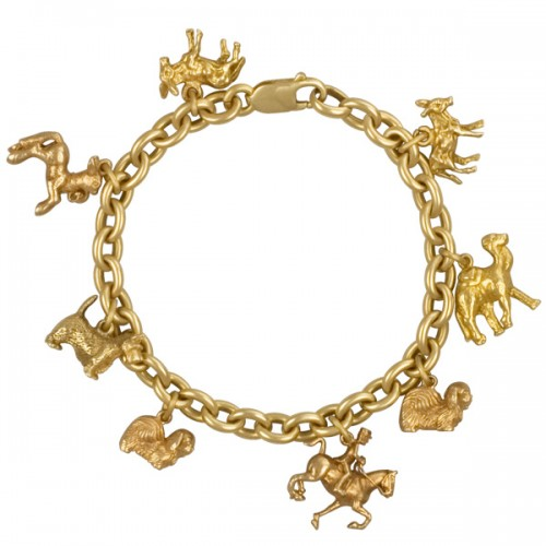 Assorted animal charm bracelet in 18k with 14k charms - perfect gift for your loved one!