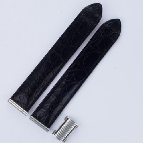 "Boucheron matt black crocodile 20mm both 3.75"" length both"