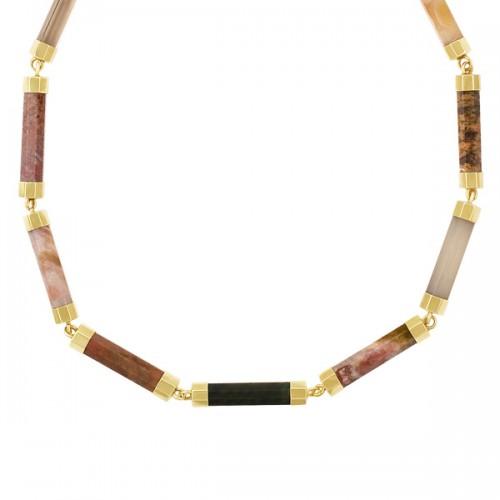 Hematite & agate bar link necklace in 14k