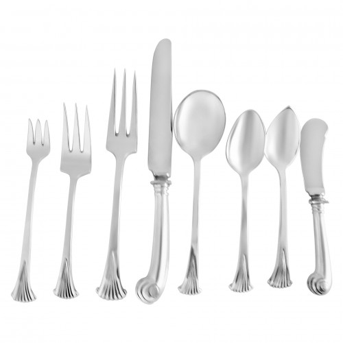 "Tuttle ""Onslow"" Sterling Silver Flatware Set. 8 Pc service for 12 - 106 total pcs."