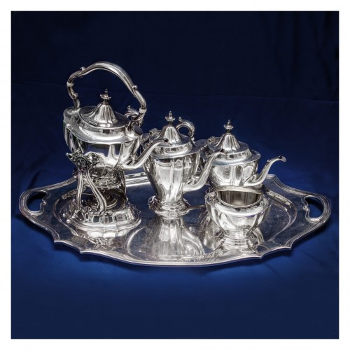 Reed & Barton sterling silver 6 piece coffee & tea set with kettle and serving tray. Over 194 oz t