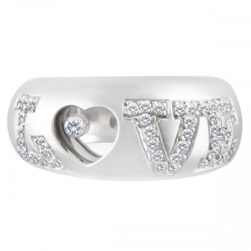 """""""Love"""" Ring In 18k White Gold"""