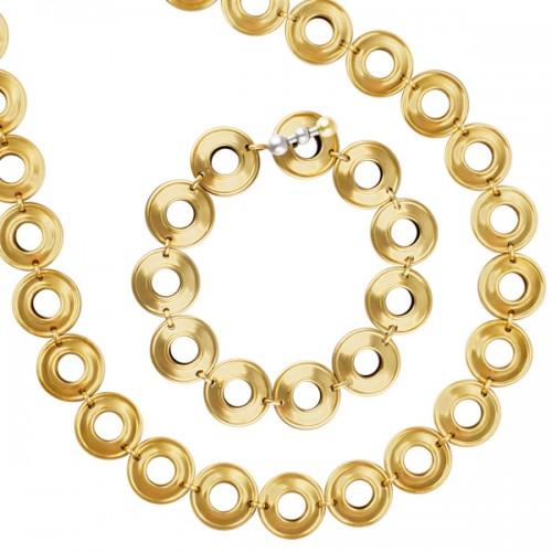 Tiffany & Co. Paloma Picasso sterling silver & 18k necklace and bracelet set