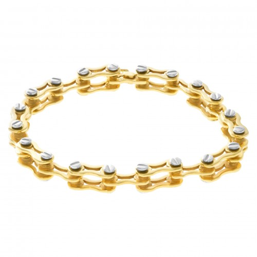 Bicycle link bracelet in 14k white & yellow gold