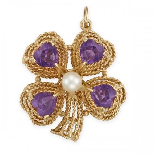 Vintage amethyst four leaf clover pendant in 14k pink gold