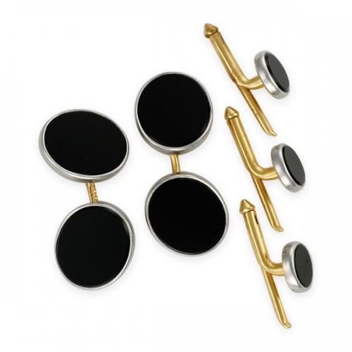 Oval onyx cufflink & 3-stud set, in 14k yellow gold