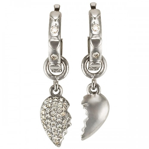 Friendhsip Split heart earrings in Platinum