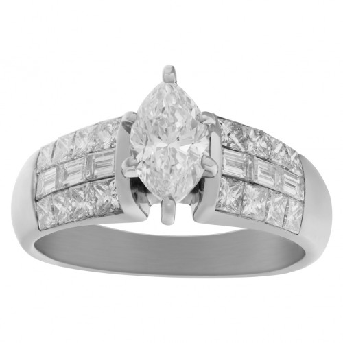 GIA Certified diamond 1.01 cts (D Color, SI1 Clarity) ring set in 18k white gold. Size 8