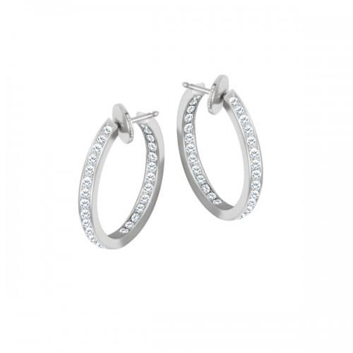 Cartier Diamond Hoop Earrings In 18k White Gold
