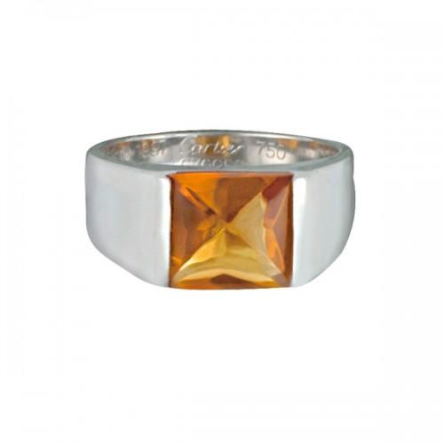 Cartier Tank Citrine ring in 18k white gold