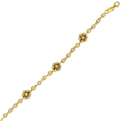 Kids diamond snowflake bracelet in 14k yellow gold