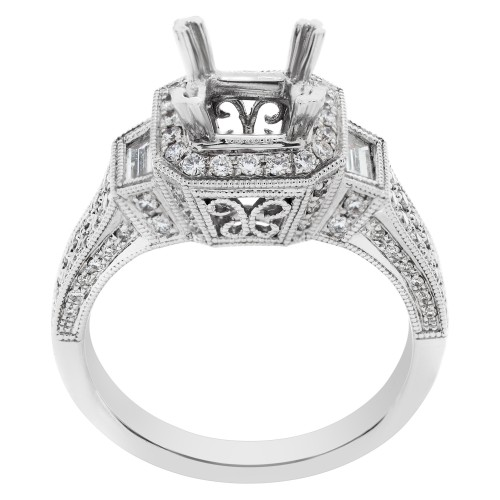 18k wg filagree setting for 1 carat stone w/2 x 0.15 ct trapezoids accented w 0.34 cts in  pave diam