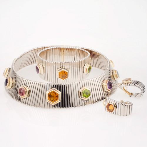 3 piece white earring & necklace set in 18k w & yg w semi precious stones