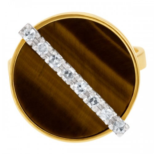 Tiger's Eye & Diamond Ring (App. 0.16 Cts In Diamonds) In 18k