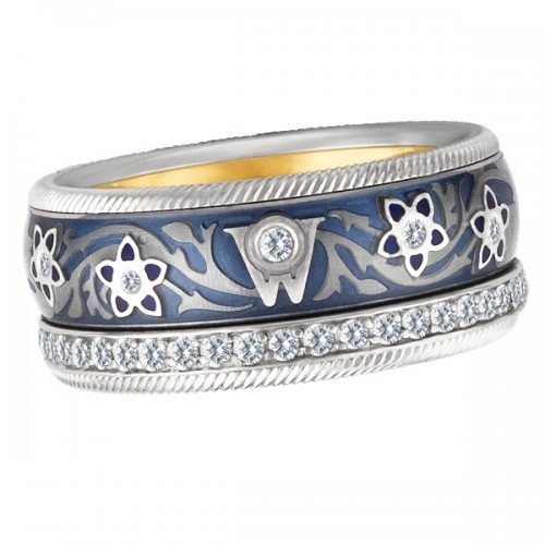 "Wellendorff ""Blueberry"" Diamond & Enamel Spinning band ring in 18k"