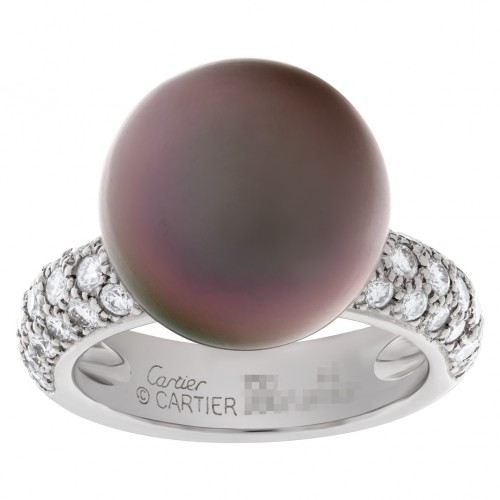 Cartier Tahitian black pearl & diamond ring in 18k Wg. 1.20ct in pave diamonds.