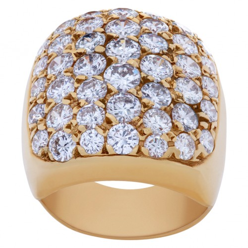 Wide diamond ring in 14k yellow gold with app. 4.5 carats in diamonds; size 5 1/2