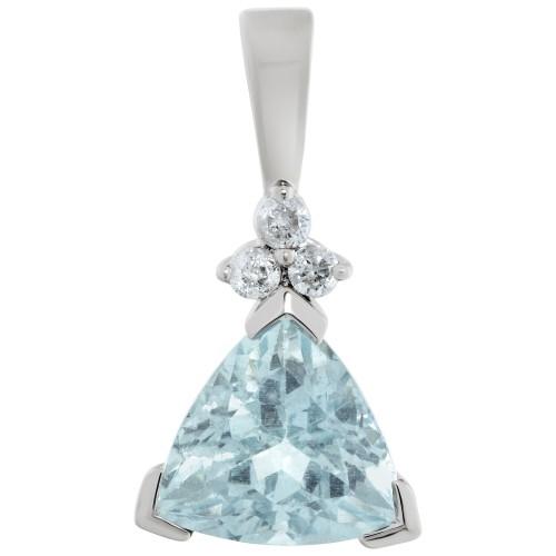 Aquamarine & diamond pendant in 14k white gold
