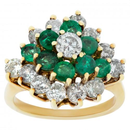 Emerald & Diamond Ring In 14k. 1.00 carats in diamonds.