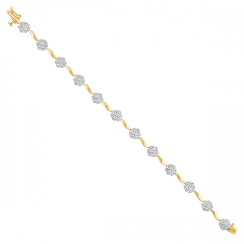 Flower diamond bracelet in 14k with app. 3 cts in diamonds.