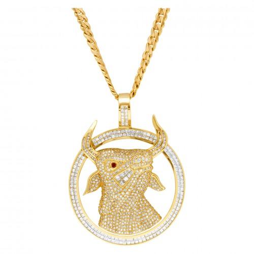 Bull pendant in 18k with app 15 carats in diamonds