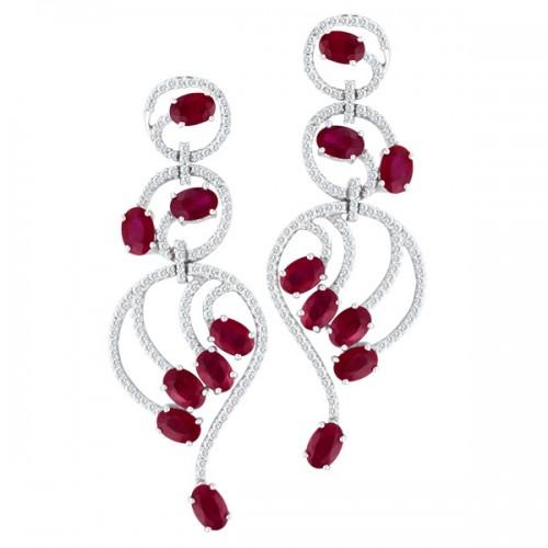 Ruby & diamond earrings in 18k white gold