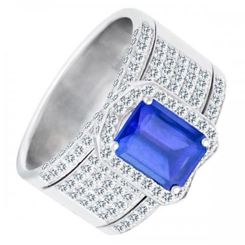 18k white gold ring with tanzanite stone and diamond setting