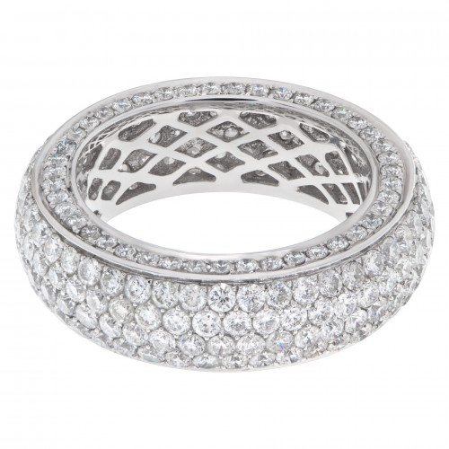 Pave diamond eternity band in 14k