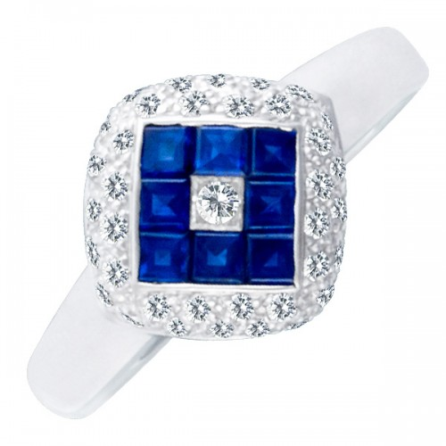Modern & Cute! Diamong and sapphire ring 18k white gold. Size 7.