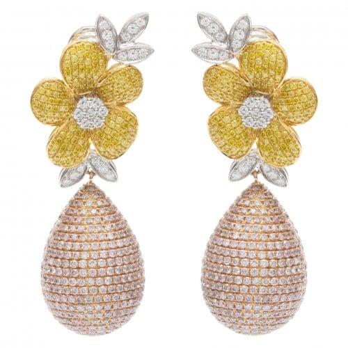 Flower diamond earrings in 18k tri-color gold. 12.35 carats in Diamonds