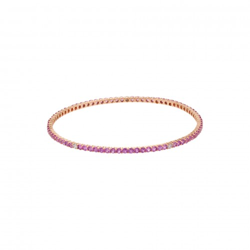 Pink sapphire & diamond bangle in 18k rose gold.