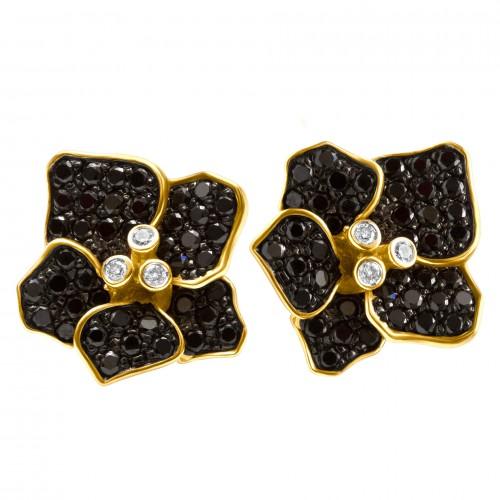 Flower diamond earrings in 18k with black & white diamonds
