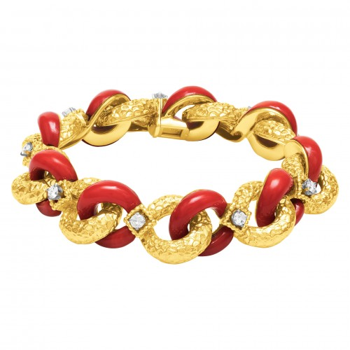 Bright coral and diamond bracelet signed by Tiffany & Co. in 18k gold