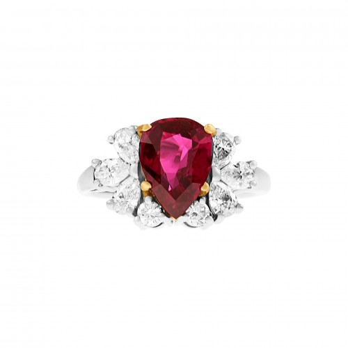 AGL certified Thai heated ruby ring in 18k & platinum. 2.83 carat pear shaped ruby