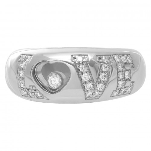"Chopard 18k white gold ""LOVE"" ring with pave diamonds on ""LOVE"". Size 5"