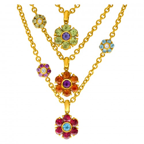 Colorful flower design necklace in 18k with multicolored gem stones and diamonds