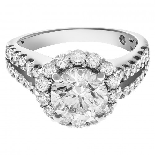 GIA certified round brilliant cut diamond ring 2.01 carats (H color, VS2 clarity) set in 18k white gold. Size 7