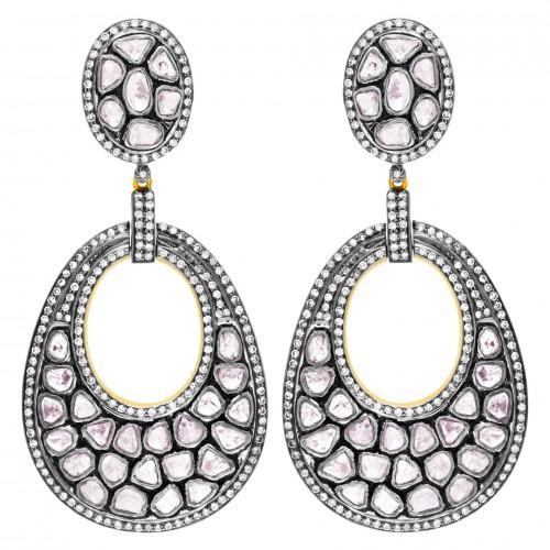 18k yellow gold & silver dangling Rose cut diamond earrings. 6.13 carats