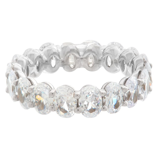 4.5ct Oval Cut Diamond eternity band in platinum image 1
