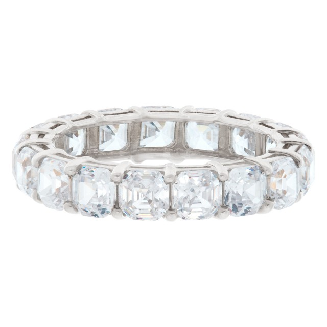 5.0ct Asscher Cut Diamond eternity band in platinum image 1