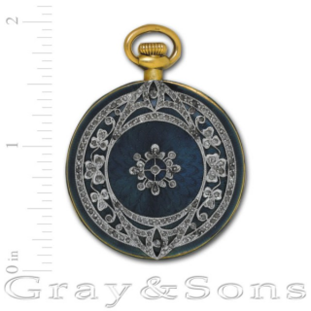 Haas & Co Swiss enamel pendant/pocket watch in 18k image 2