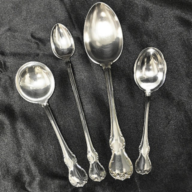 """Towle """"French Provincial"""" Sterling Slver Flatware Set. 12 Pc service for 8 - 106 total pcs image 3"""