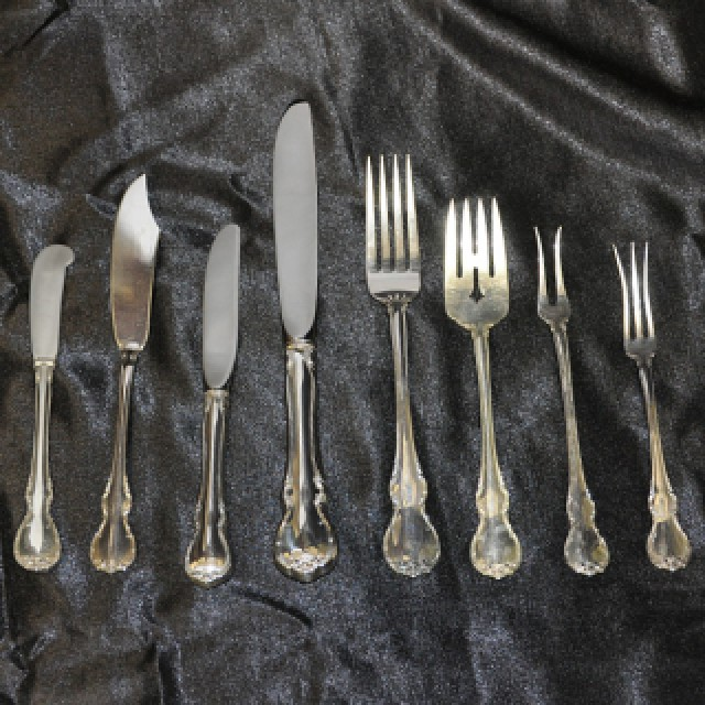 """Towle """"French Provincial"""" Sterling Slver Flatware Set. 12 Pc service for 8 - 106 total pcs image 6"""