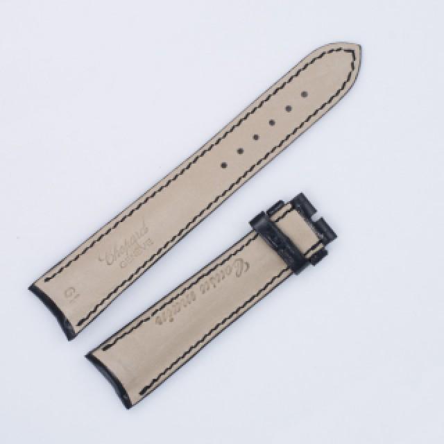 """Choppard shiny black alligator strap 19mm x 16mm. 3"""" lug end & 4.5"""" buckle end. image 2"""