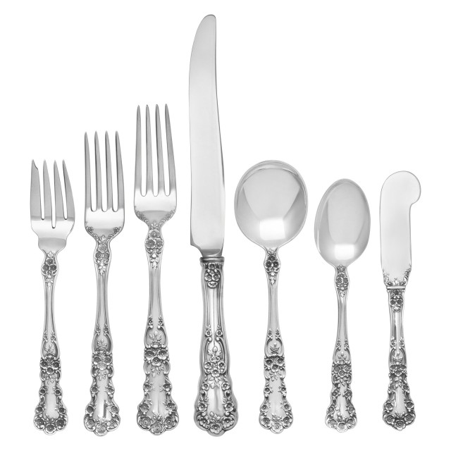 "Gorham ""Buttercup"" Sterling Silver Flatware Set. 8 pc service for 12 - 111 total pcs. image 1"